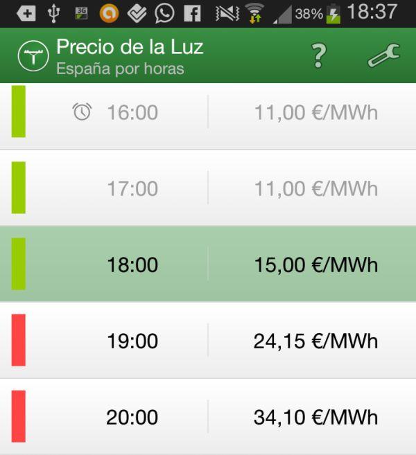 Precio de la Luz, consulta los costes de cada tramo horario de electricidad [Android]