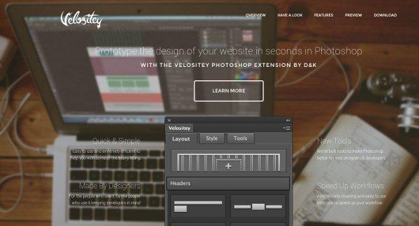 Velositey, complemento de Photoshop para generar plantillas de sitios web (mockups)