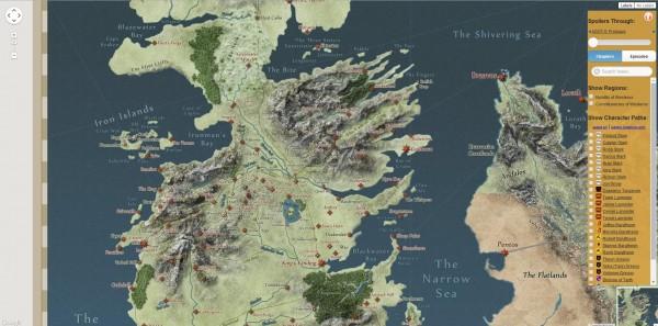 3 mapas interactivos para los fans de Juego de Tronos