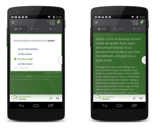 Vocabulary lanza aplicación android, para aprender inglés por móvil