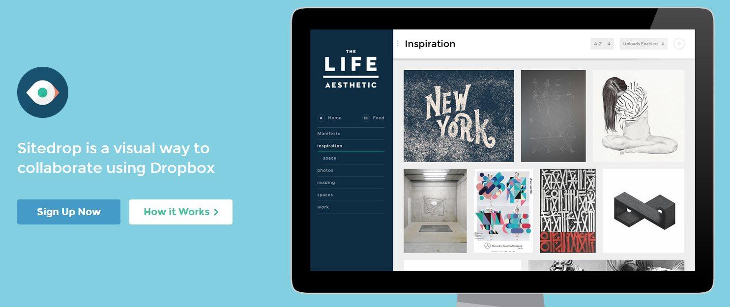 sitedrop, transforma tu Dropbox en un portafolio visual para mostrar tus trabajos