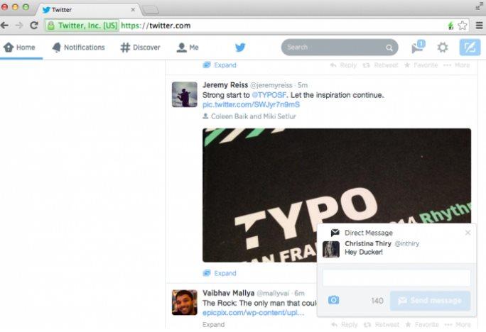 Twitter presenta sus notificaciones en el navegador