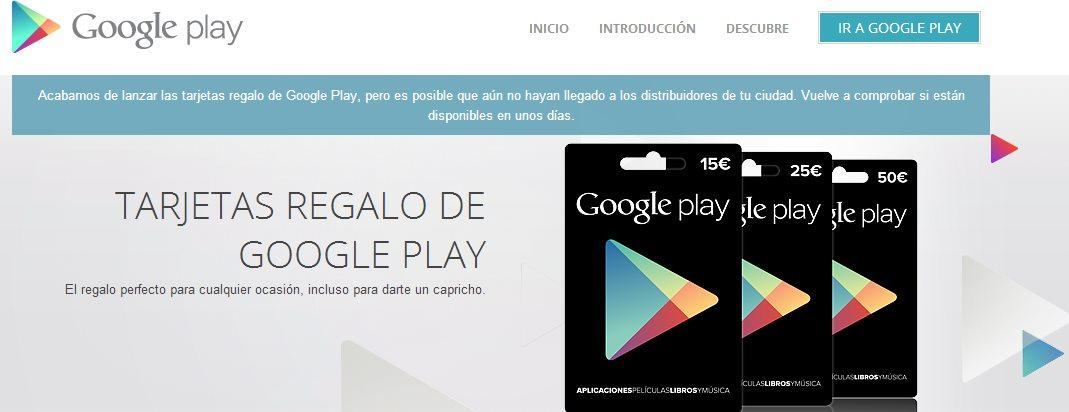 Las tarjetas regalo de Google Play, ya disponibles en España, Austria, Suiza e Italia