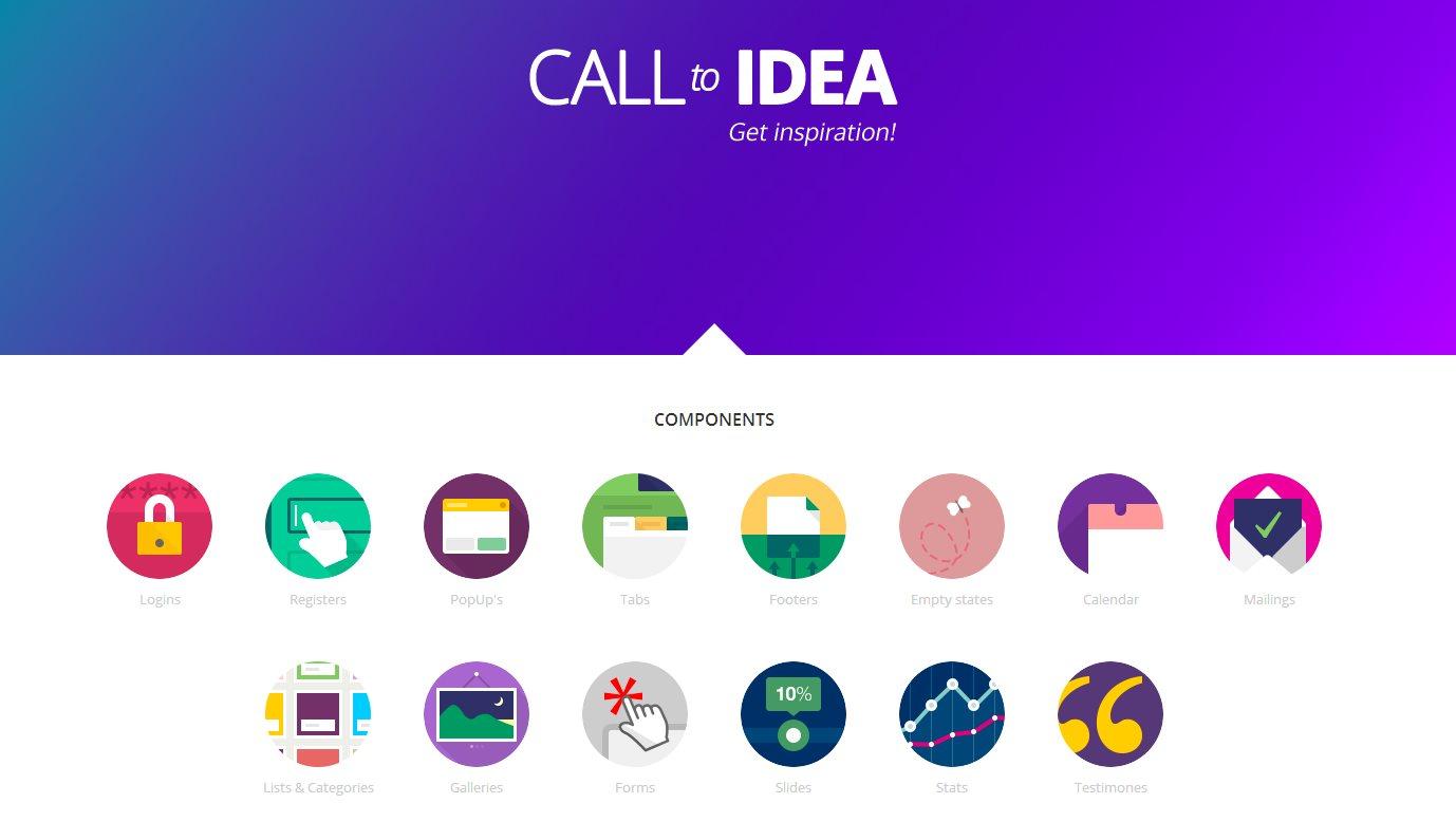 calltoidea, una web con diseños de formularios, calendarios, logins, galerías…