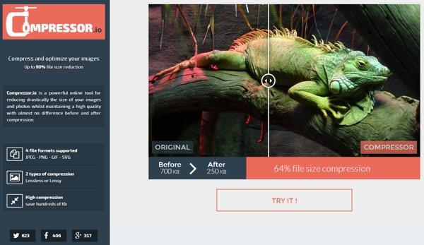 Compressor.io, reducir el peso de una imagen sin pérdida de calidad y de forma online
