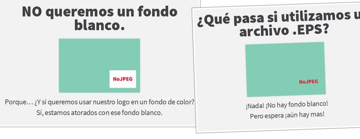 NoJPEG, presentación indicando el motivo por el que debemos evitar el uso de jpeg en un logo