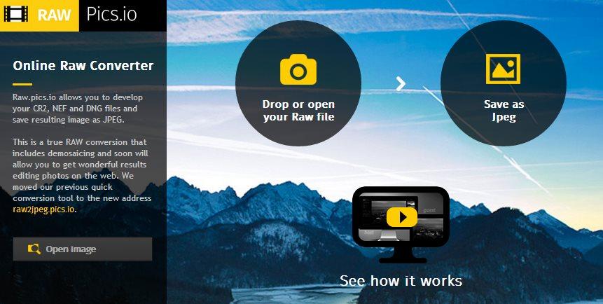 Proyecto web permite abrir y editar imágenes RAW y guardarlas como JPEG