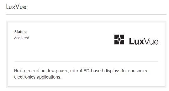Apple compra LuxVue, empresa especializada en energía eficiente a base de LED