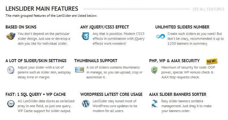 lenslider, una extensión gratuita de WordPress para crear Sliders