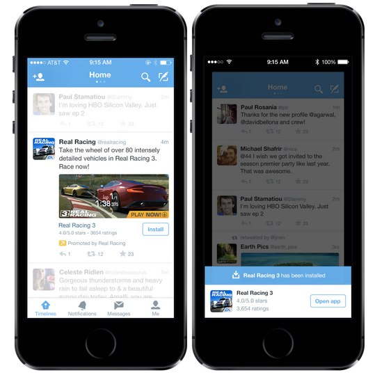 anuncios instalar apps twitter