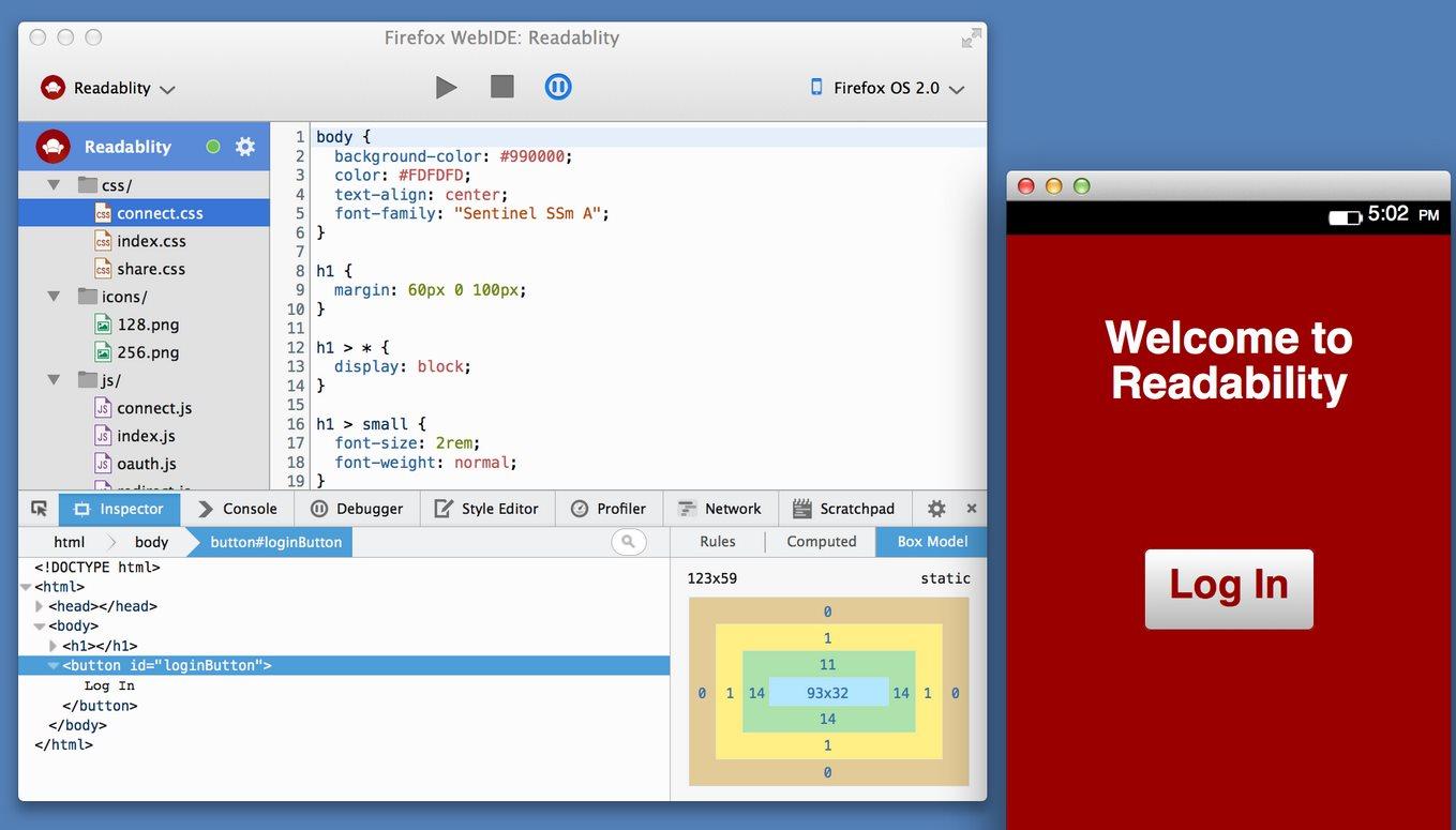Nuevo firefox permite programar aplicaciones para Firefox OS directamente desde el navegador