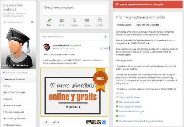comunidad cursos online gratuitos