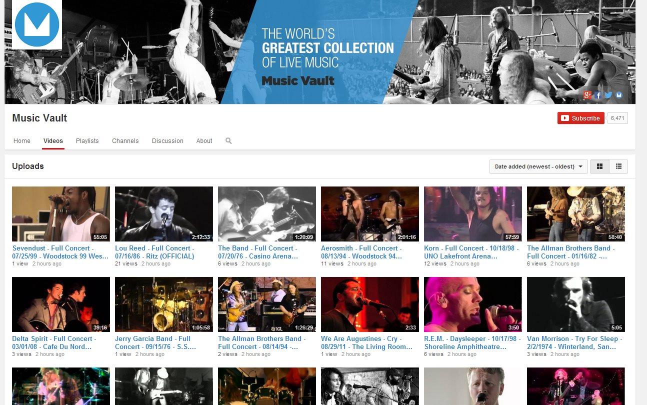 Music Vault publica más de 13.000 conciertos de música en Youtube