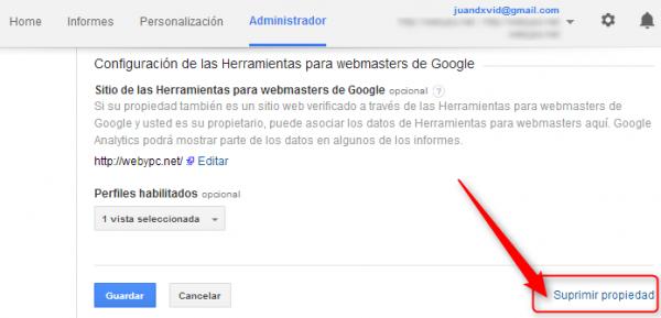 cuentas eliminar propiedades google analytics