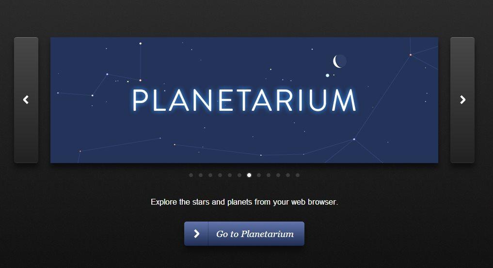 planetarium, el cielo nocturno en tu navegador web
