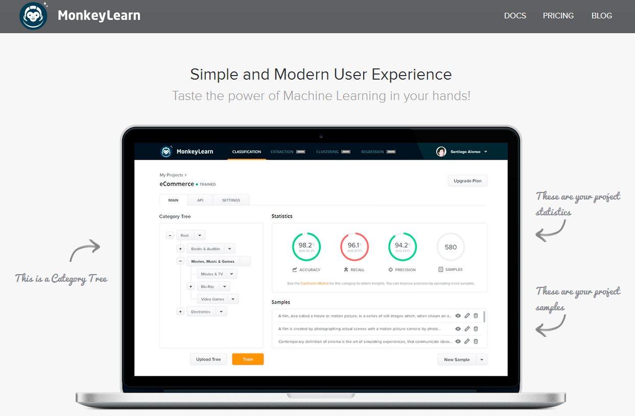 MonkeyLearn, una plataforma que ofrece inteligencia artificial a cualquier desarrollador