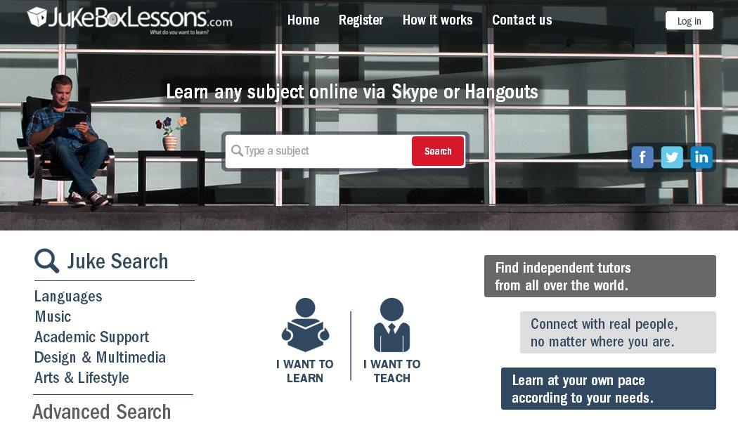 Jukeboxlessons, para encontrar clases de todas las materias vía Skype o Hangouts, ya en español