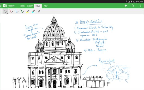 onenote para tablets android