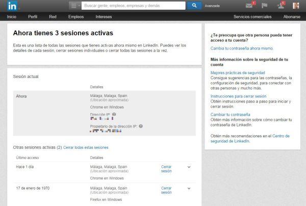 Gestión de sesiones en LinkedIn