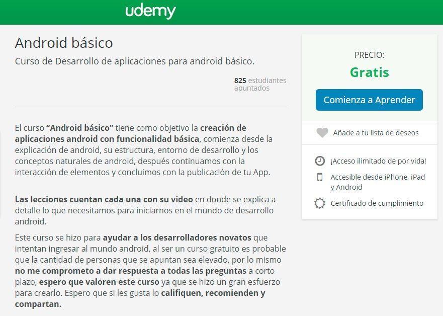 Curso online gratuito de programación android, en español y con certificado