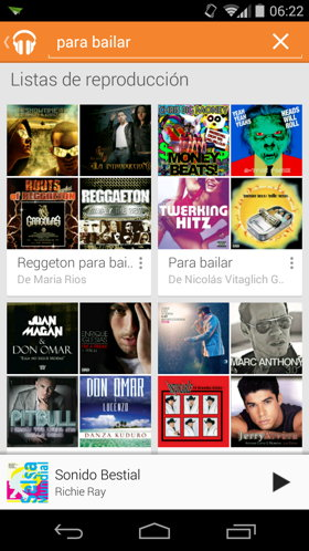 play music buscar listas de reproduccion