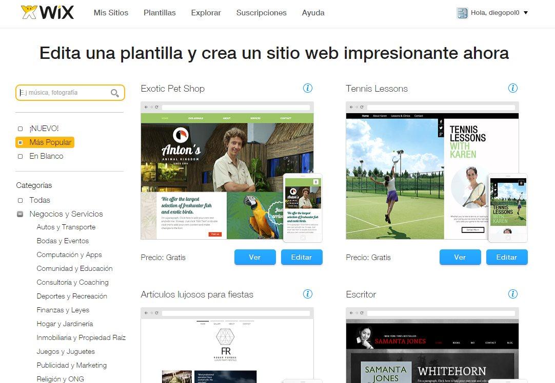Wix, un paso a paso en la creación de un sitio web con tienda
