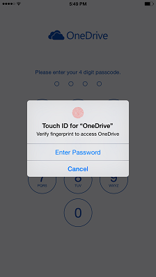 Touch ID OneDrive