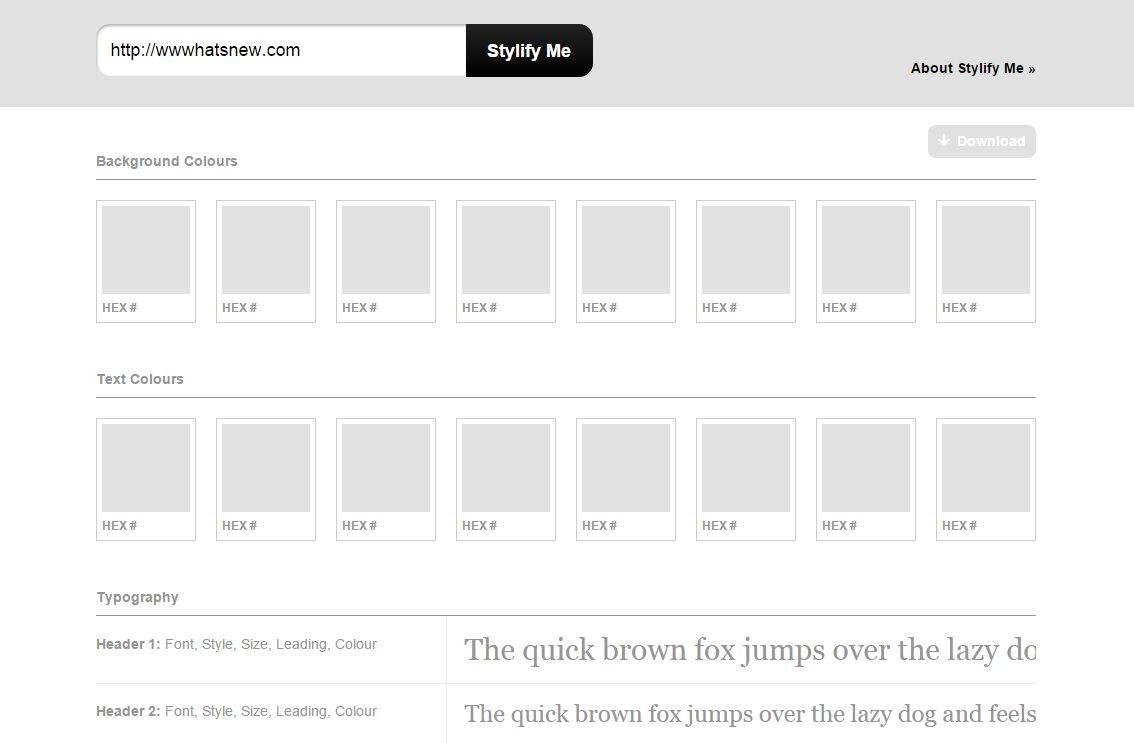 stylifyme, para obtener los detalles de diseño de cualquier sitio web