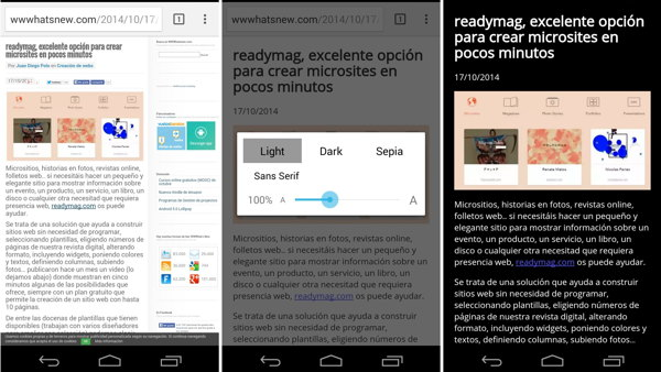 modo lectura chrome android