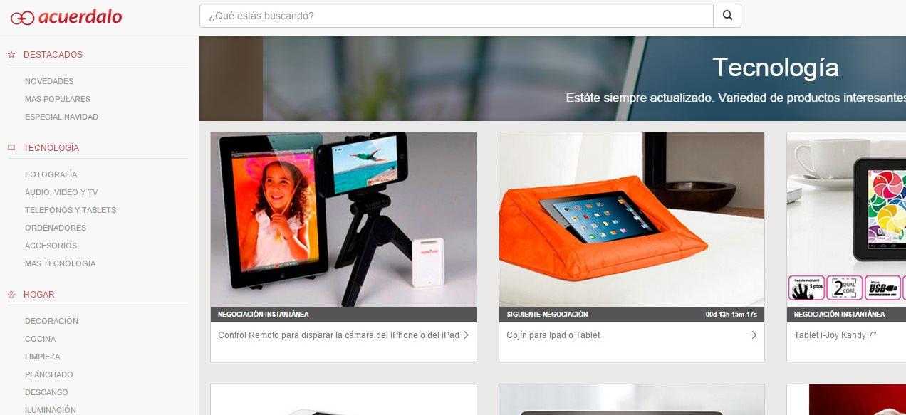 Acuerdalo, una web de comercio electrónico donde el cliente pone el precio