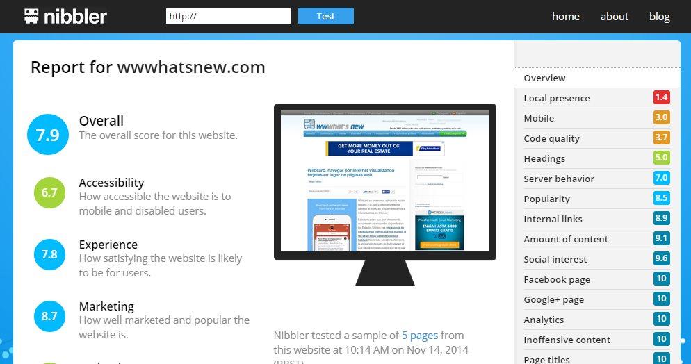 nibbler, para encontrar errores y mejorar nuestro sitio web
