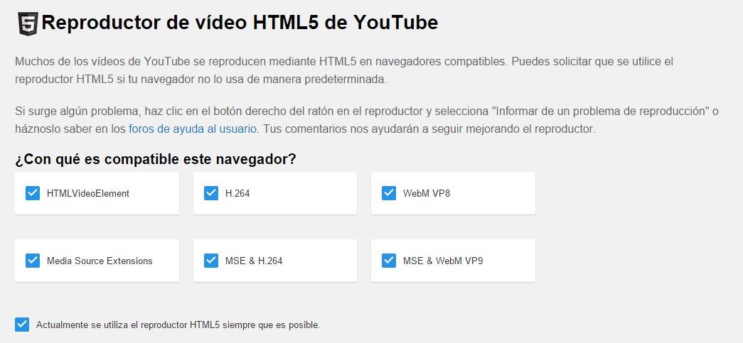 Usa la extensión /html5 para pasar de flash a html5 en youtube