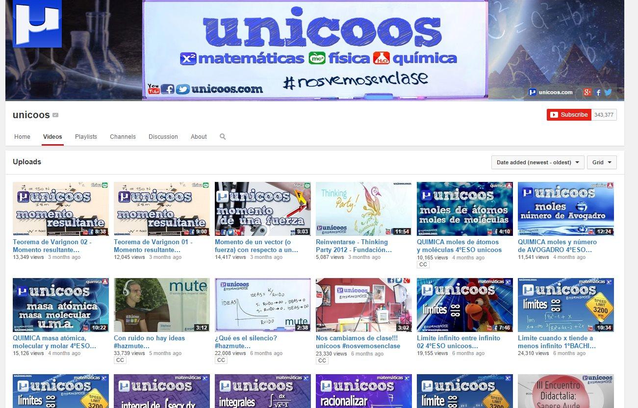 Unicoos, vídeos gratuitos de matemáticas, física y química, en español