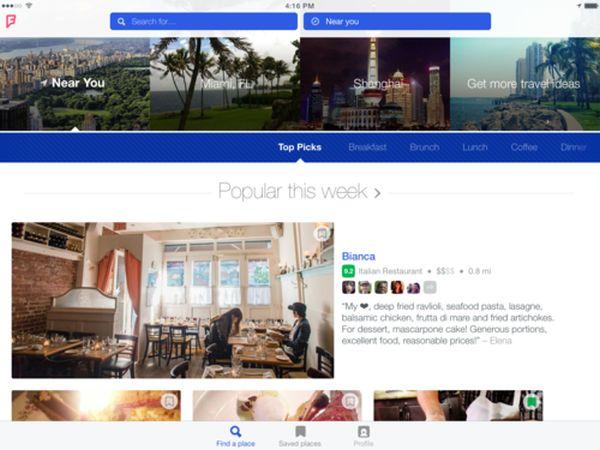 Foursquare para iPad