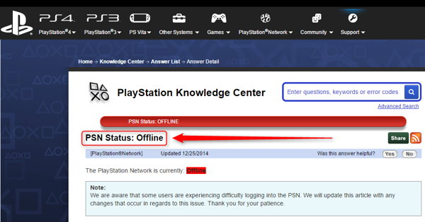 Play Station Network status