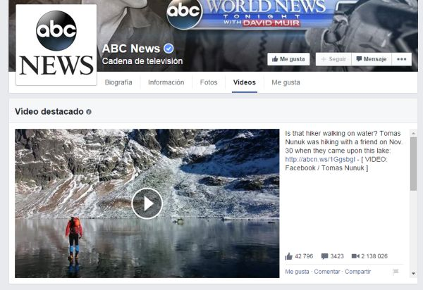 Página de ABC News en Facebook