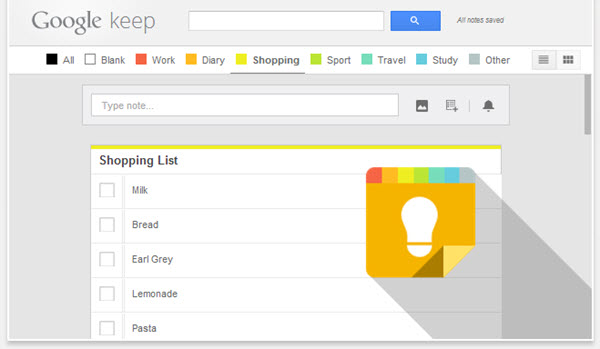 Tabs for Google Keep