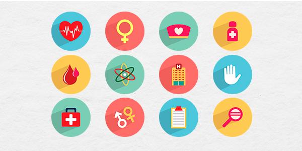 Un paquete de 36 iconos con temática de salud