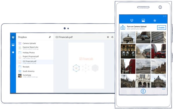 aplicacion de Dropbox para Windows Phone