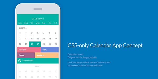 Aplicación de calendario usando únicamente CSS
