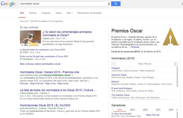 nominados oscar 2015 google
