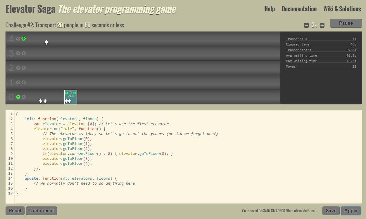 Elevator Saga, el juego de programación online para diseñar un ascensor
