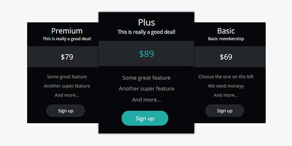 Tablas de precios en CSS