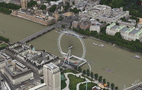 Los mapas de Apple comienzan a mostrar animaciones en 3D en el London Eye y Big Ben de Londres