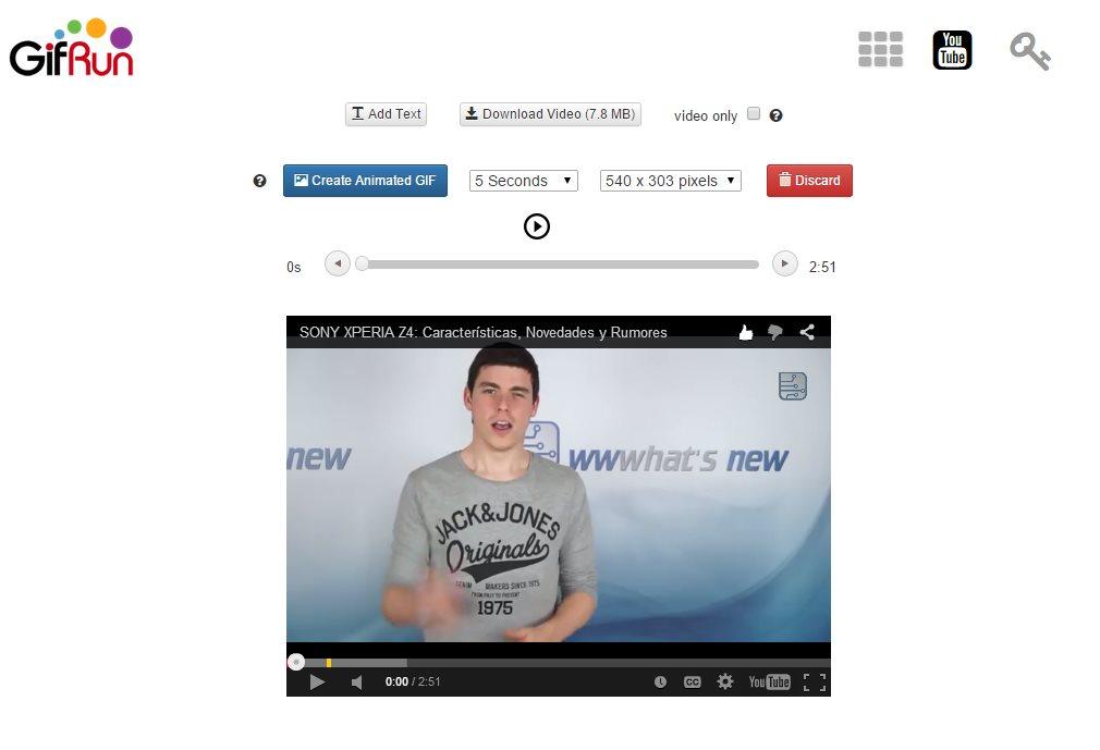 gifrun nos permite crear gifs animados a partir de vídeos, e incluir textos