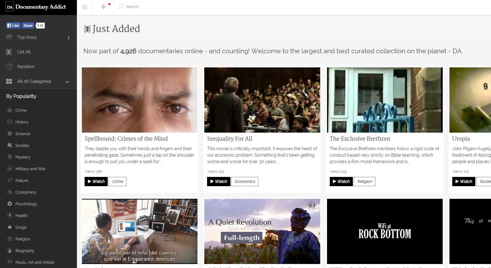 documentaryaddict, una web con casi 5.000 documentales clasificados