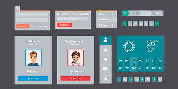 Elementos De Interfaz Gráfica Flat En PSD