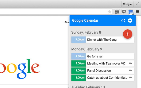 google calendar chrome