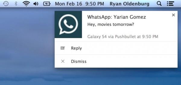 Notificación en el escritorio de WhatsApp