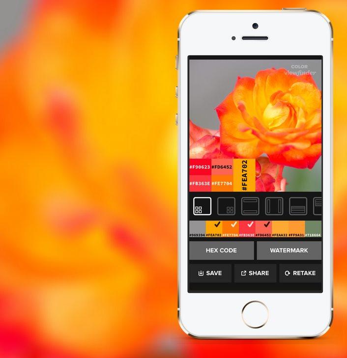 colorviewfinder, fotografía un objeto para obtener su paleta de colores